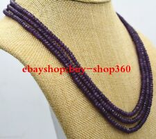 NATURAL 3 Rows 2X4mm FACETED Amethyst BEADS NECKLACE 17-19'' AAA