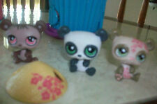 3 COLLECTION OF PANDA BEARS❤️~Littlest Pet Shop  + Hat *retired*~❤️~