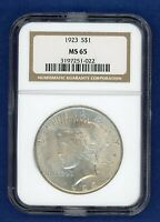 1923 P NGC MS65 Peace Silver Dollar $1 US Mint 1923-P NGC MS-65 PQ Gem Coin !