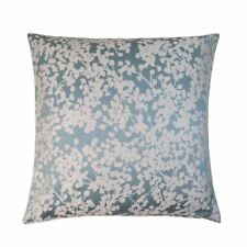 "WOVEN FLORAL DUCK EGG BLUE WHITE 17"" - 43CM CUSHION COVER"