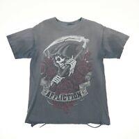 Sun Faded Distressed Affliction Grim Reaper T-Shirt MEDIUM Gray Thin Grunge