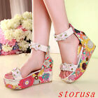 Ladies Womens High Heel Wedge Ankle Strap Platform Open Toe Sandals Summer Shoes