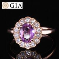 GIA CERTIFIED NATURAL 1.81CT NO HEAT VIVID PINK SAPPHIRE DIAMOND  18 KG RING