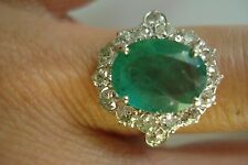 Huge Gift~Deco Vtg 14k gold 4.2ct Colombian emerald diamond halo ring Sz7.5~Bin