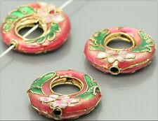 2x Cloisonne Perlen Ringe 21mm lachsrot cb051