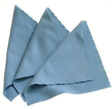 Horosafe Watch Polishing / Cleaning Cloth - Travel Size 7x6 - 3 Pack Light Blue