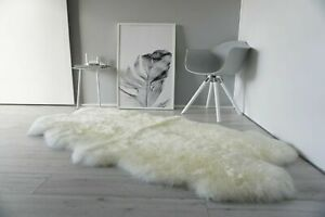 Genuine Australian Quad Sheepskin Rug 4 Pelt Soft Fluffy Silky Cream White Wool