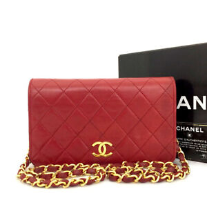 CHANEL Red Quilted 19 CC Logo Push Lock Lambskin Chain Shoulder Bag/82434