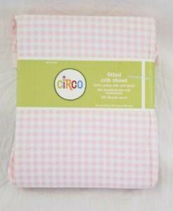 Circo Gingham Pink & White 100% Cotton Fitted Crib Sheet NIP