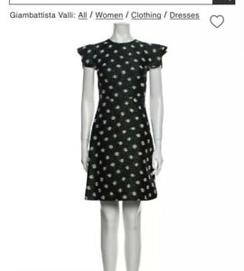 Giambattista Valli $1243 Black Ruffle Flutter Daisy Embroidered Dress XS 0 IT38