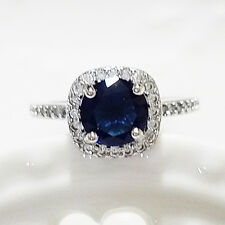 2.5 Ct Round Solitaire Blue Sapphire Halo Ring Solid 925 Silver Size 6 R637