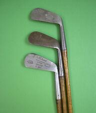 Lot of 3 Vintage Hickory Golf Clubs - Ervin Nelson, Joe Kirkwood, Hillrick.