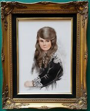 VINTAGE MIDWEST SCHOOL GIRLS BEDROOM LONG HAIR BLUE EYES SWANSON PAINTING IL