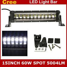 15inch 60W LED Single Row Light Bar Spot Lamp Offroad Truck 4WD SUV Strobe Flash