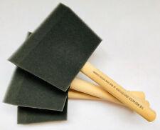 3 Foam Brush Sponge Wooden Handle Paint Craft Glass Glitter Glue Application Art