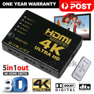 5 Port 4K HDMI Splitter Switch Switcher Hub Box Adapter HDTV Ultra HD 4K 60Hz