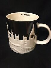 Starbucks London Relief Mug Big Ben Tower Bridge Thames St Pauls Cathedral Black