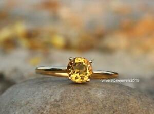 Natural Yellow Citrine Ring 925 Solid Sterling Silver Yellow Gold Fill Ring