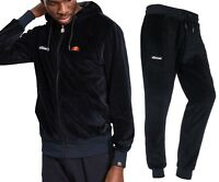 ellesse Mens Velour Full Zip Hoodie, or Velour Jog Pants Black Mix Match Suit