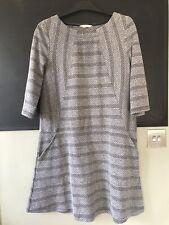 White Stuff Ladies Womens Dress Grey Black Print Size 14 Pockets Stripe