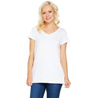 Isaac Mizrahi Live! Essentials Pima Cotton V-Neck Tunic - Bright White - Large
