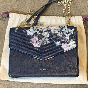 Worn Once Ted Baker Pergola Peponia Dark Blue Floral Medium Leather Bag Perfect