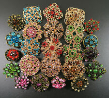 24pcs Mix Vintage Gold DIY Wedding Bouquet Rhinestone Crystal Brooch Pin