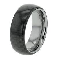 8mm Tungsten Carbide Black Carbon Fiber inlay Men's Jewelry Wedding Band