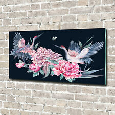 Tulup Glass Print Wall Art Image Picture 140x70cm - Cranes and peonies