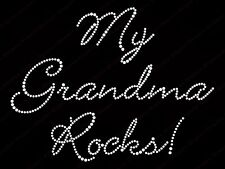 "Diamonte Hotfix Transfers Rhinestones iron On Motif "" My Grandma Rocks! "" - Sty1"