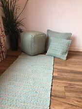 ❤️Zig Zag Rug Turquoise Rags & Natural Cotton 70cm x 200cm Runner Herringbone