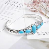 HOT Women Tibetan Silver Green Turquoise Open Bangle Cuff Bracelet Jewelry Gift