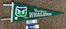 Vintage Defunct Hartford Whalers NHL Lot Felt Pennant, 2 Unused Tickets Playoffs