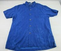 Tommy Bahama Mens Blue Short Sleeve Silk Button Up Aloha Shirt Large