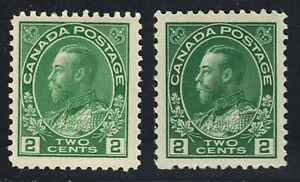 King George V Scott's # 107 & 107e -2 cent Yellow Green & Green MNH CV $250.00US