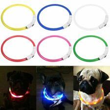 Collar Luz LED Luminoso para Perro Mascota Cinturón de Seguridad USB Recargable