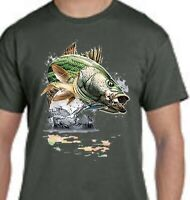 Jumping Striped Bass Fishing Front Design Tee T-Shirt New