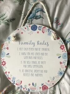Unwanted Gift . New Wall Plaque Family Rules Quotes.