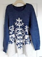 LADIES NEXT SNOWFLAKE FLUFFY JUMPER ICE BLUE AND WHITE SIZE 22