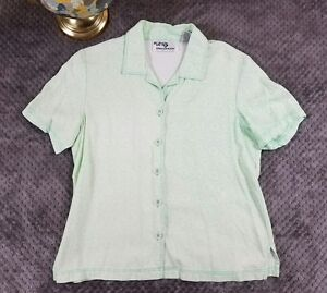 Erin London S Top Button-Up Green White Floral Collar Blouse Floral Rayon Vtg