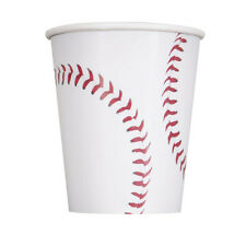 BASEBALL 9oz PAPER CUPS (8) ~ Sports Birthday Party Supplies Beverage Drinking