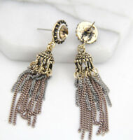 Handmade White Crystal Ear Drop Dangle Stud Ancient long Tassels Earrings 1359