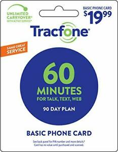 Tracfone 60 Minute Card + 90 days of Service - Airtime Card Refill - PIN #