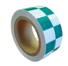 NEW HIGH INTENSITY GREEN / WHITE REFLECTIVE CHEQUERED TAPE 50mm x 10m