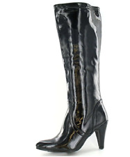 Ladies Knee High Black Patent Spot On Boots Style - F5677