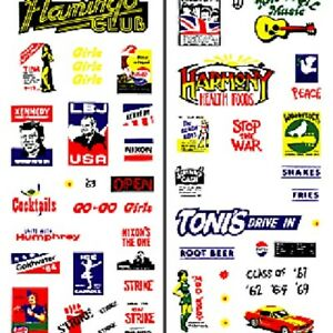 Woodland Scenics DT561 1960's Signs & Posters Dry Transfer Decals