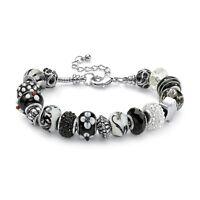 "Black and White Bali-Style Beaded Bracelet Silvertone 8"""