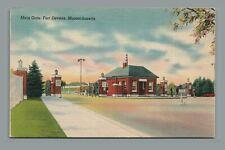 Vintage c1940s Linen Postcard: Main Gate Military Base Fort Devens MA