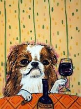 Japanese chin wine dog prints art print impressionism animals 11x17