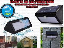 FARETTO 38 LED PER ESTERNO IP65 PANNELLO SOLARE SENSORE MOVIMENTO CREPUSCOLARE